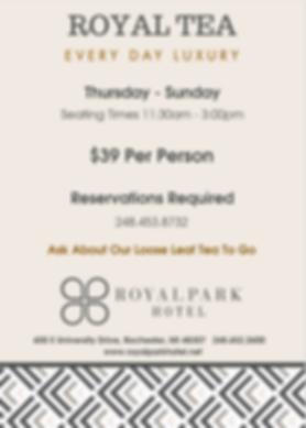 Royal Tea Service at Park 600 | Best Tea in Detroit