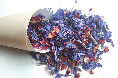 Vintage design cone with blue delphinium and red rose