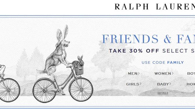 Ralph Lauren любимая акция! Дополнительная скидка 30%!