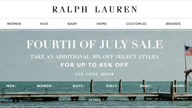 Ralph Lauren дарит дополнительную скидку 30% на праздник 4 июля!