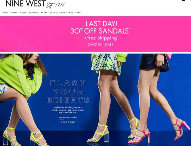 Nine West Дополнительная скидка 30% на сандалии + бесплатная доставка до нашего офиса в США