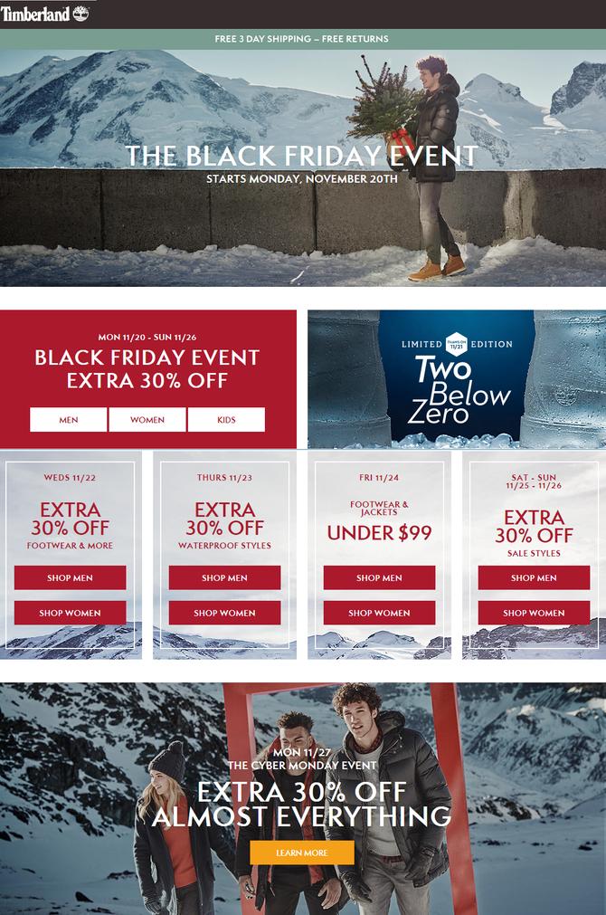 Timberland так же начал распродажу Black Friday.