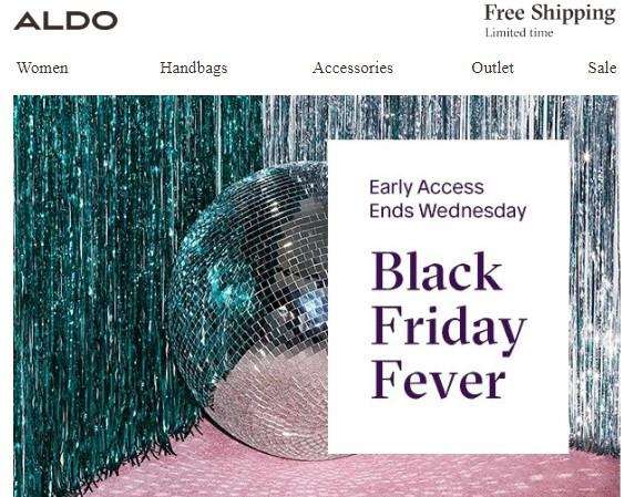ALDO ранний доступ к распродаже. 50% дополнительно к начальным ценам (или 35% от сцены со скидкой)