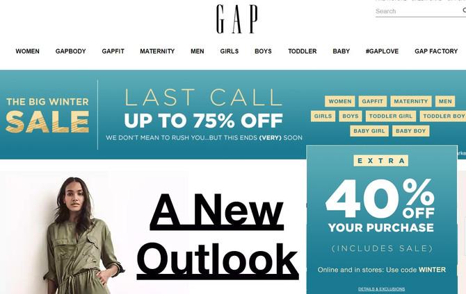 GAP - на всё скидка в размере 40%, включая sale