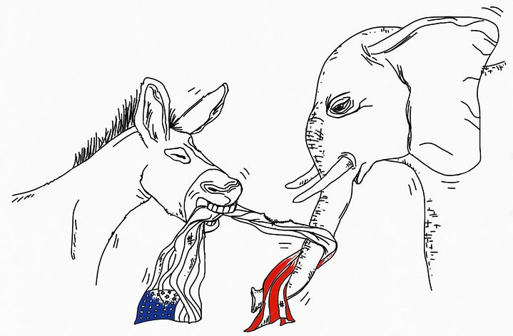American politics, a Democrat donkey and a Republican elephant fighting over an American flag.