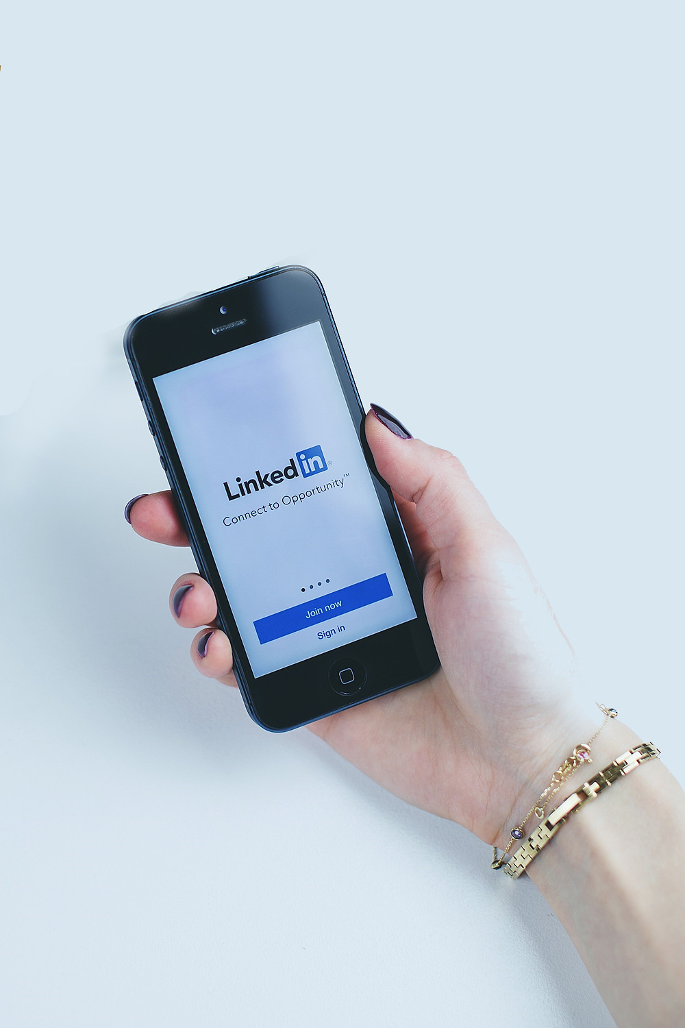 LinkedIn site opened on a mobile device.