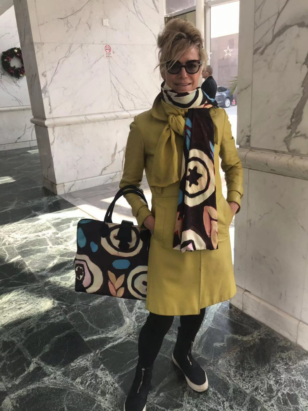 PLASTIC SCARF AND HAND BAG