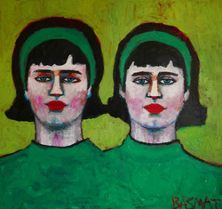 Green Twins 150x180cm, Oil on canvas
