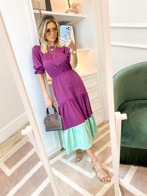 Vestido Thassia Babados Bicolor