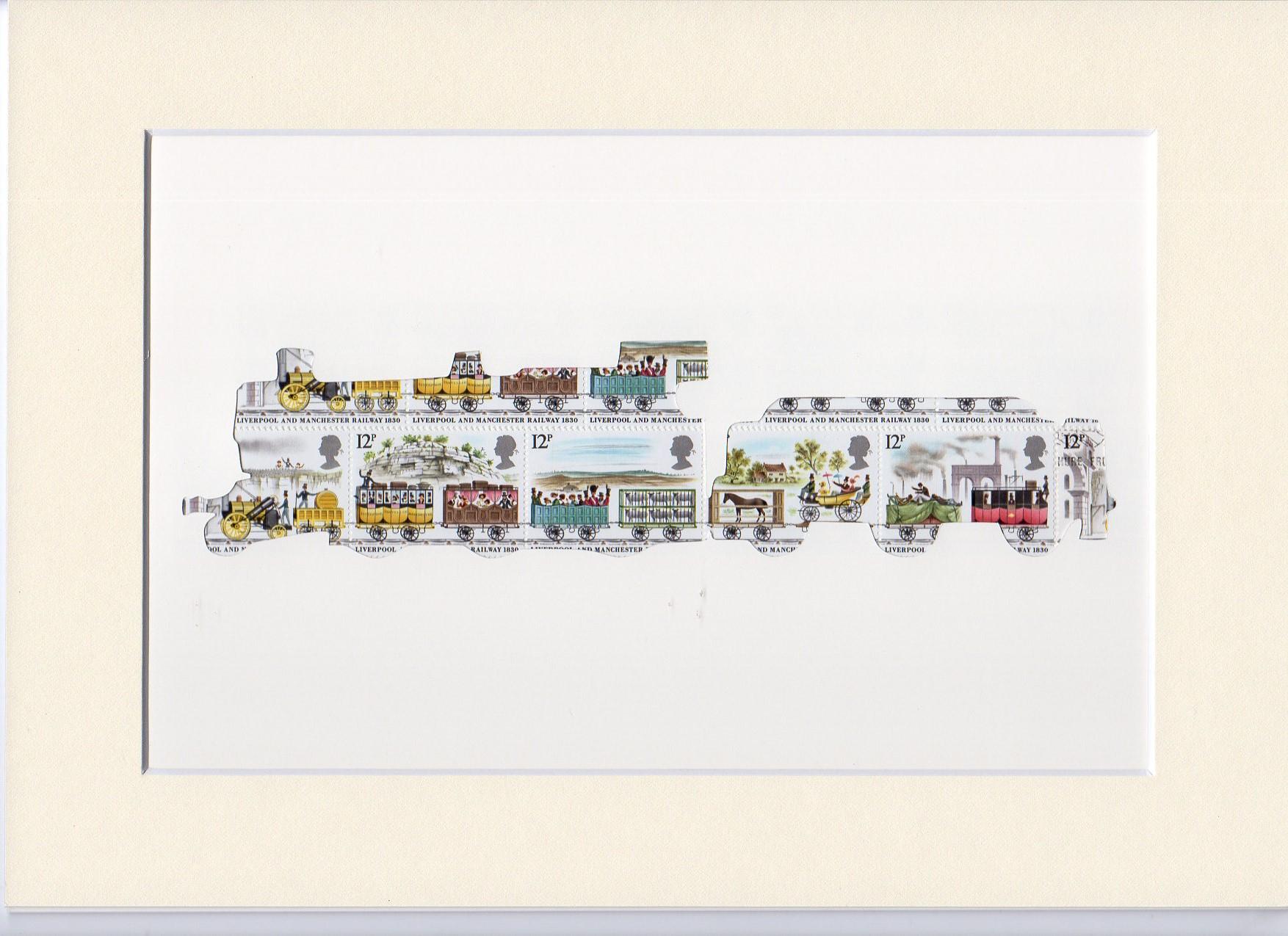 train flying scotsman stamp art