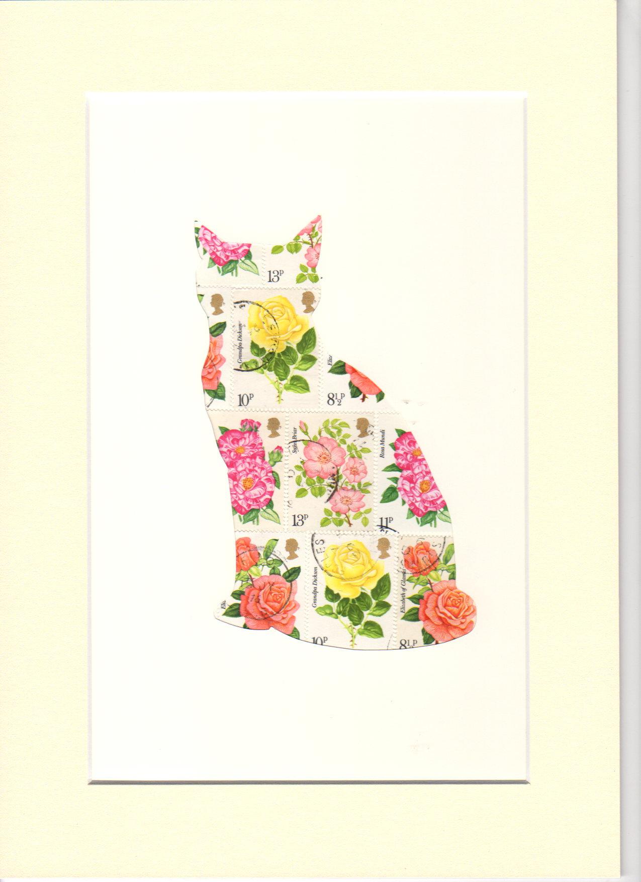 cat roses stamp art