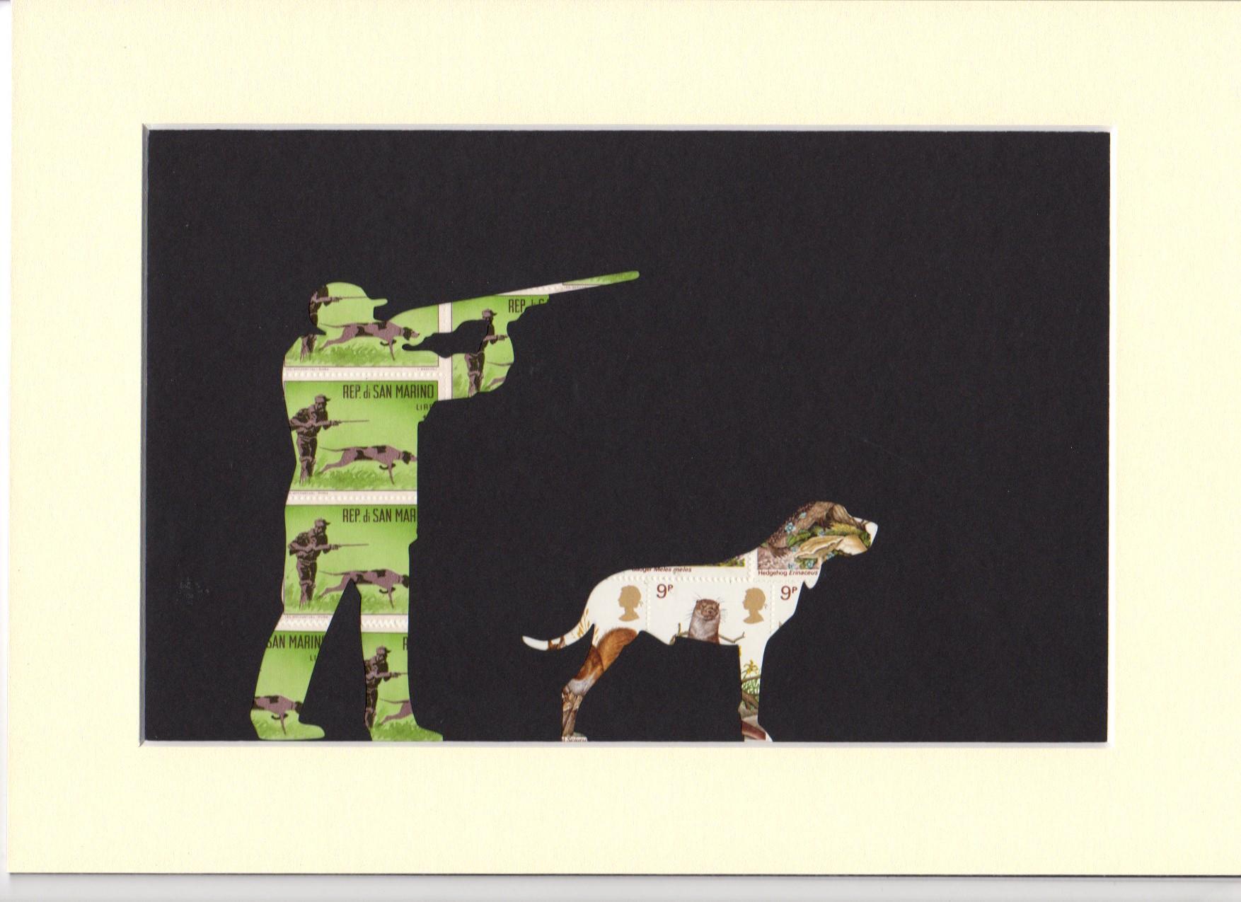 hunting dog stamp art