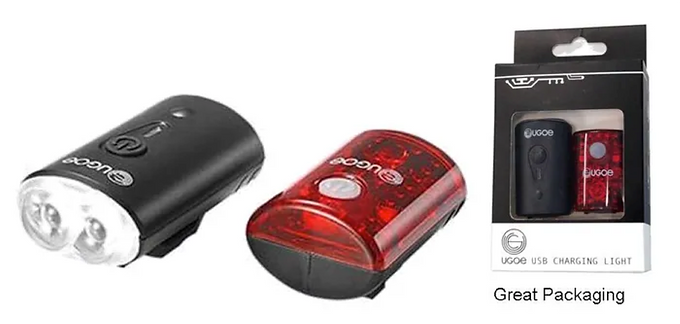 FRONT & REAR LIGHT COMBO SET, 100 Lumens, USB Rechargeable