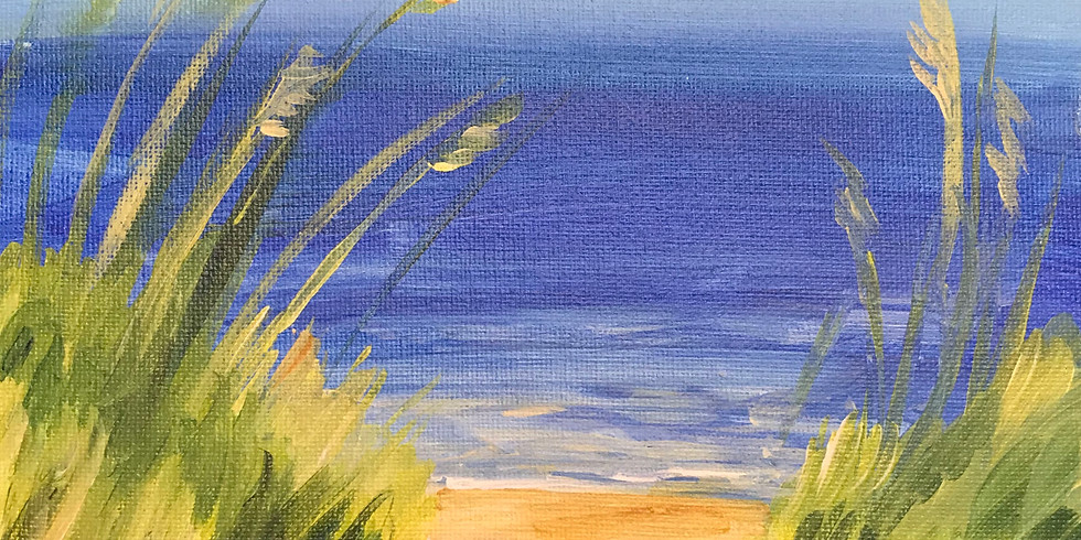"""Canvas Painting (Adult session) Studio inside - Beach Grass Path 16x20"""""""