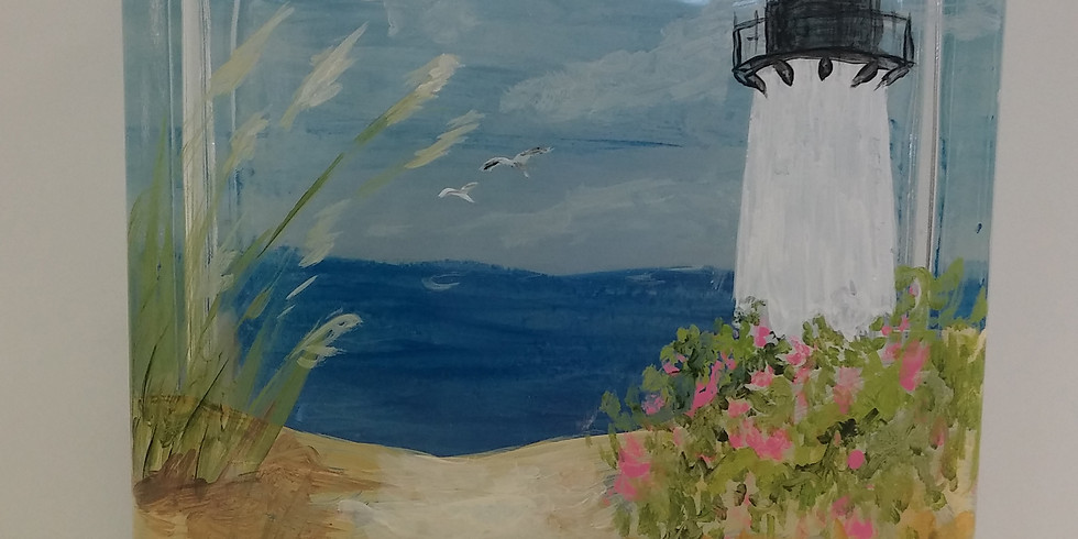 Glass Block Painting (Adult session) - Lighthouse - Studio Outside
