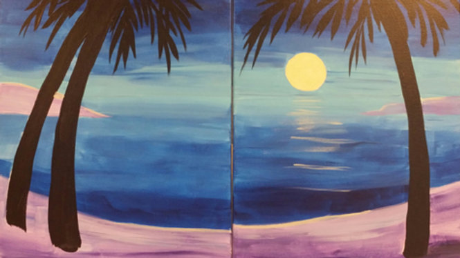 Tropical Moonscape Couples Paint Kit (2 - 16x20 canvases)