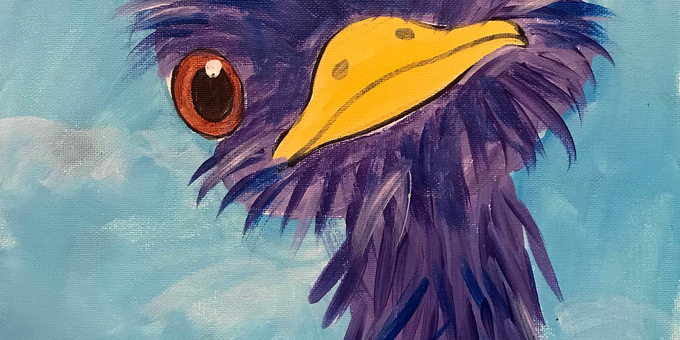 Kids Canvas Painting - Ostrich