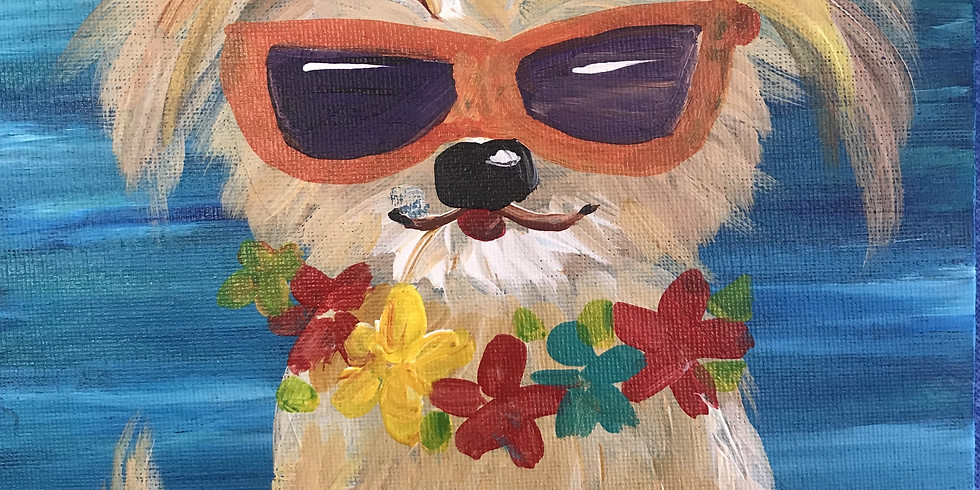"""All Ages Canvas Painting - Dog/Sunglasses 11x14"""""""