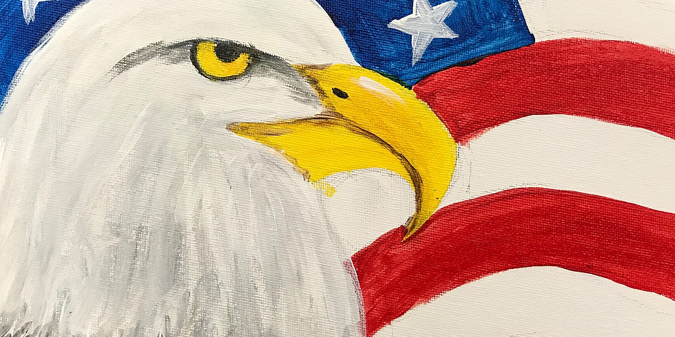 """All Ages Canvas Painting Studio Outside- Eagle-11x14"""""""