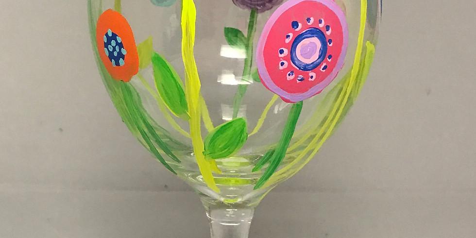 Two Wine Glasses Painting Studio Inside (Adult session) - Flower Garden