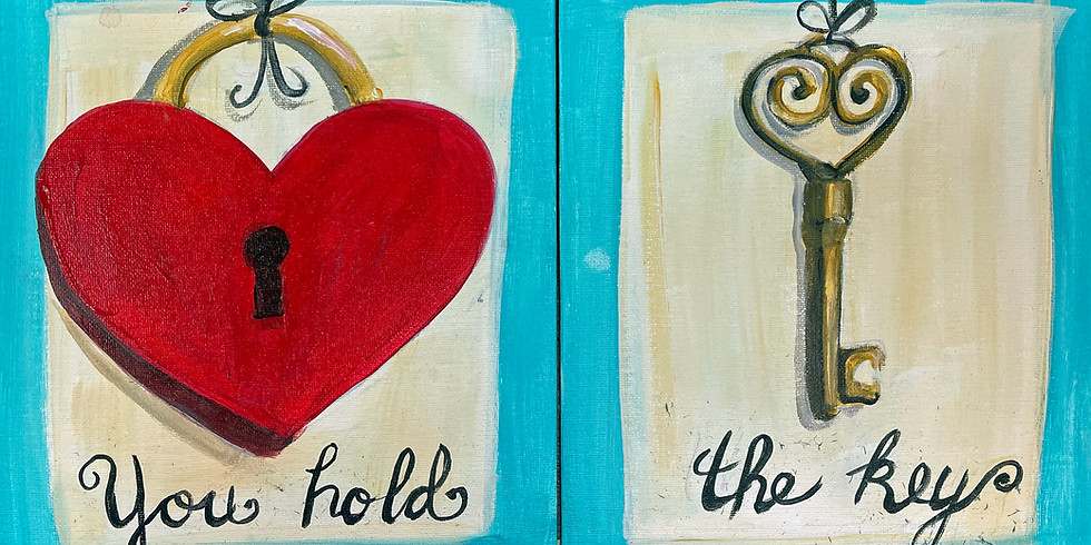 """Studio Couples Canvas Painting (Adult session) - Heart Lock and Key 16x20"""""""