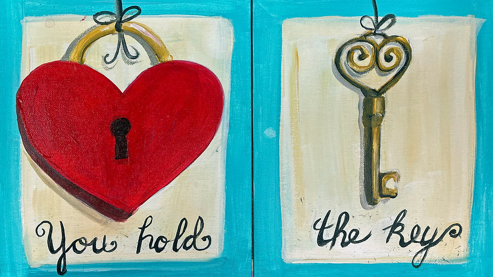 Heart Lock and Key Couples Paint Kit (2 - 16x20 canvases)