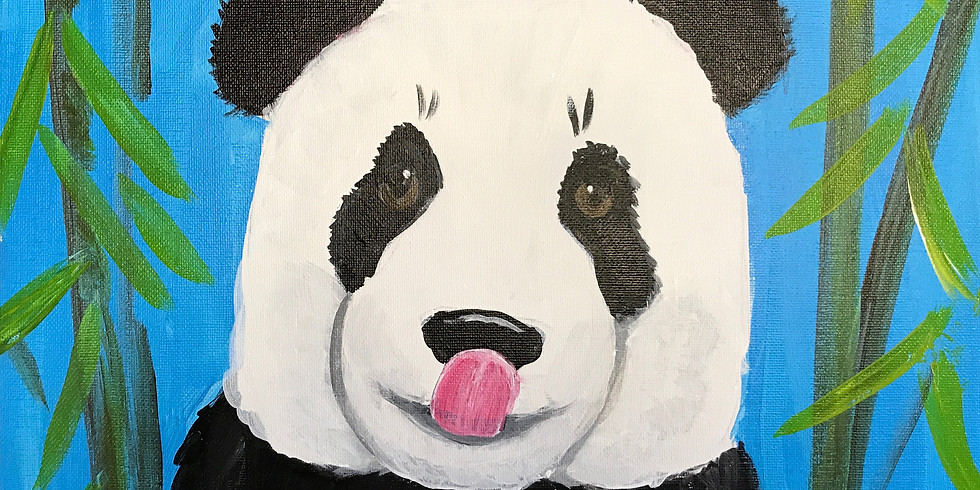 """Kids 11x14"""" Canvas Painting at the Studio Outside - Panda"""