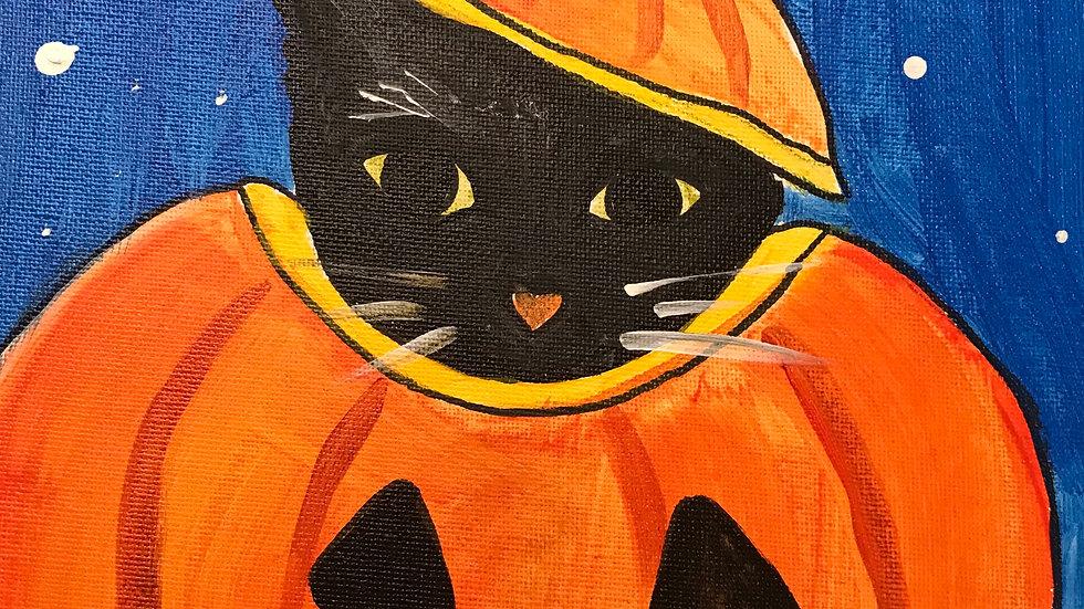 Cat in Pumpkin Paint Kit (16x20)