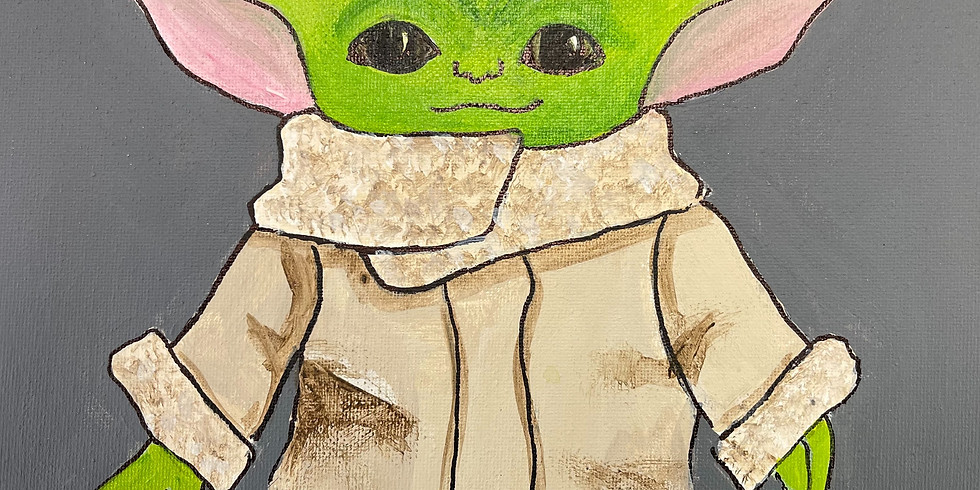 """All Ages Canvas Painting - Baby Yoda 11x14"""""""