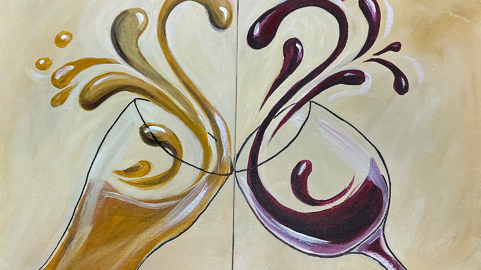 """Beverage of Choice Couples Paint Kit  (2) 11x14""""Canvases"""