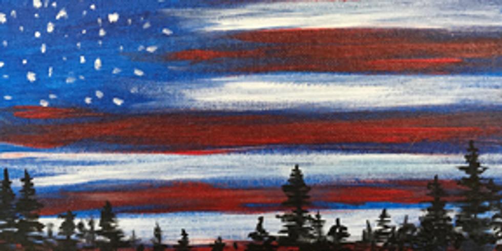 "Canvas Painting (Adult session) - Patriotic Sky 16x20"" Studio inside"