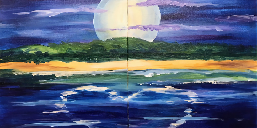 """Studio Couples Canvas Painting (Adult session) - Beach Love 16x20"""""""