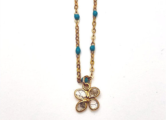 COLLIER EMAIL TURQUOISE ET DIAMANT POLKY