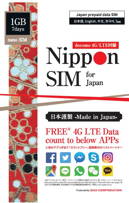 Nippon SIM for Japan アプリカウントフリー版 docomo 回線 7日間1GB 4G/LTEデータSIM