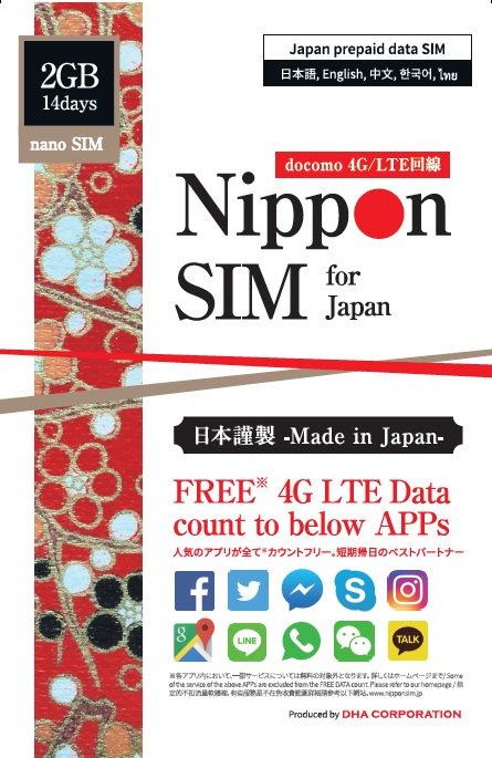 Nippon SIM for Japan アプリカウントフリー版 docomo 回線 14日間 2GB 4G/LTEデータSIM