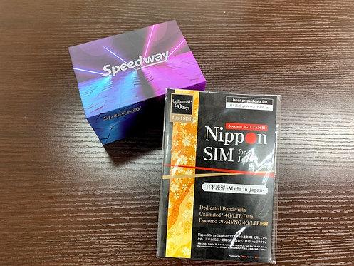 SPEEDWAY HR01 モバイル WiFiルーター + 国内用 90日間 180GB プリペイドSIM セット
