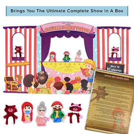 Joolzee's Puppet Theatre with 5 Loveable Finger Puppets, Story Scroll and More