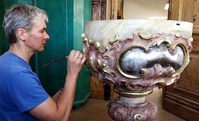 Restaurierung Walser Taufbecken