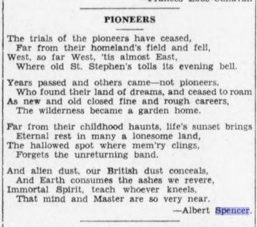 """Poem entitled """"Pioneers"""" by Albert Spencer."""