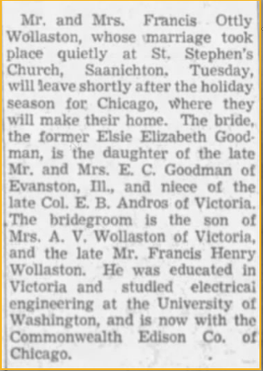 Newspaper clipping about wedding of Elsie Goodman and Francis Wollaston