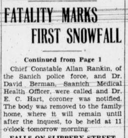 Headline: Fatality Marks First Snowfall
