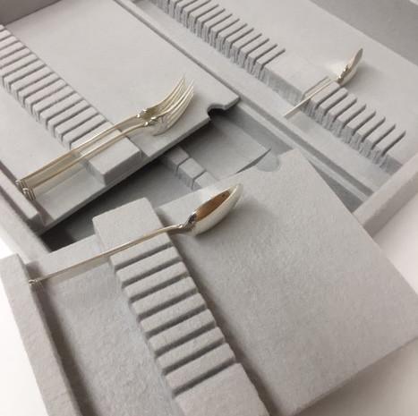 European Trays in Light Grey Kenized Silver Cloth