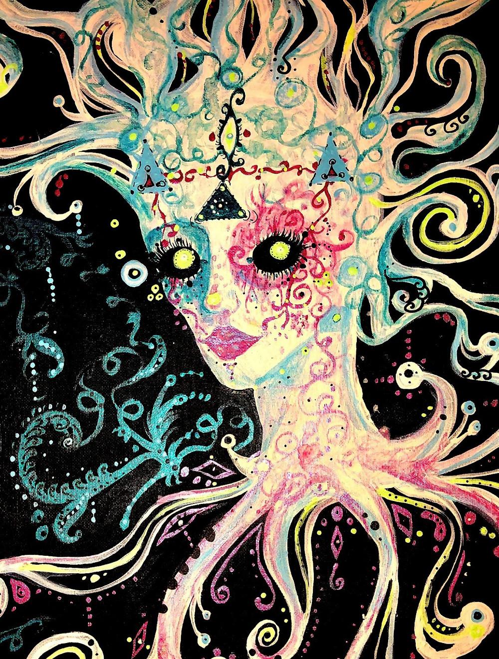 Graphic portrait of Medusa in vibrant colors.