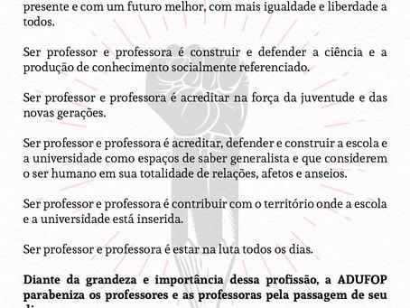 15 de outubro: Professor, professora parabéns pelo seu dia!