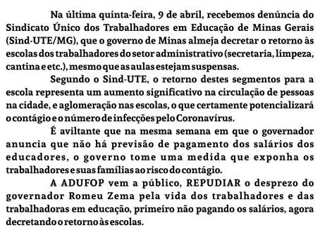 Nota de REPÚDIO da ADUFOP contra o retorno das atividades nas Escolas em Minas Gerais