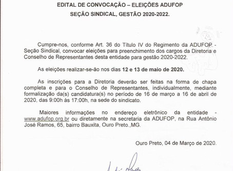 Edital de Convocação: Eleições ADUFOP - Seção Sindical, Gestão 2020-2022