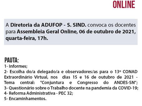 Diretoria da ADUFOP convoca docentes para Assembleia Geral Online