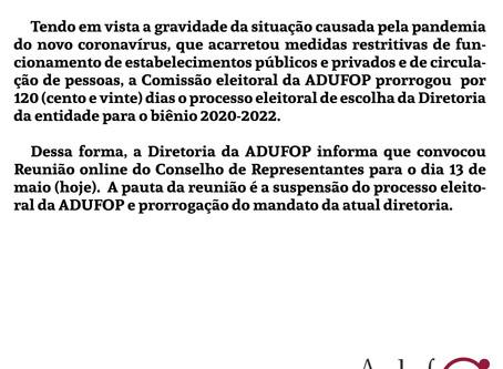 Informe ADUFOP: Reunião do Conselho de Representantes