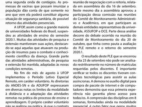 Avaliação do PLE remoto e proposta de retorno do semestre 2020.1