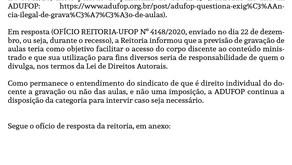 Nota da Diretoria da ADUFOP sobre gravação de aulas e resposta da reitoria